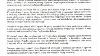 Oświadczenie Prezydenta Miasta Oświęcimia Janusza Chwieruta w związku ze skandalicznymi wypowiedziami amerykańskiego rabina Elchanan Poupko