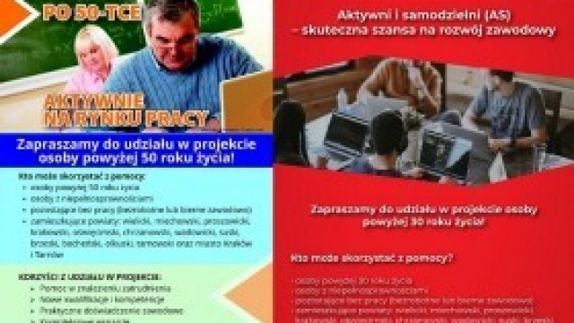 """""""Aktywni i samodzielni"""" dla osób 30+ oraz """"Po 50-tce aktywnie na rynku pracy"""": Trwa nabór na bezpłatne kursy"""