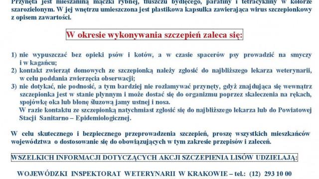 Akcja szczepienia lisów przeciw wściekliźnie od 7 do 14 maja 2021 roku - WSKAZÓWKI dla mieszkańców.
