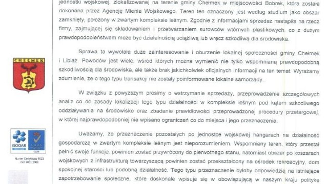 BOBREK. Składowisko odpadów w miejscu dawnej jednostki?! List burmistrzów do ministra Błaszczaka