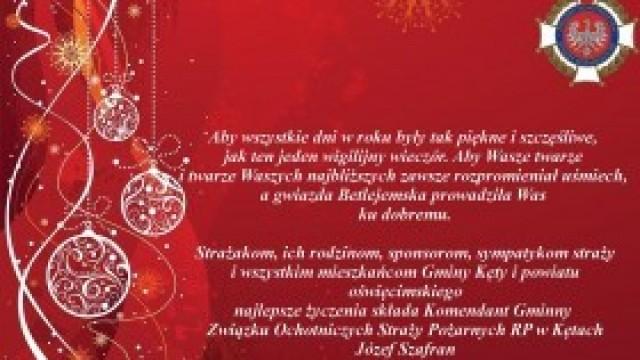 Bożonarodzeniowe życzenia Komendanta Gminnego ZOSP RP w Kętach