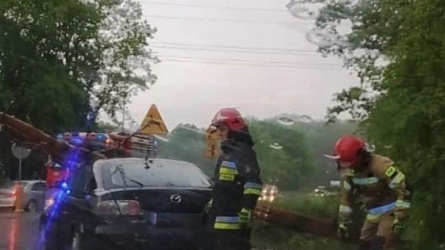 Drzewo spadło na samochód na obwodnicy Oświęcimia – FOTO