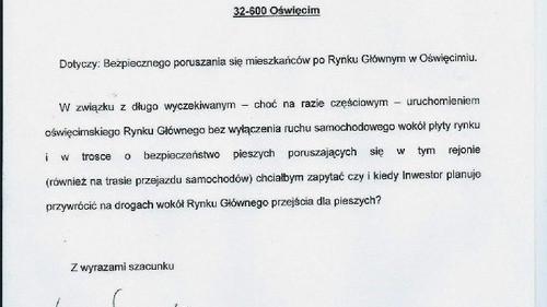 DYSKUSJA. Czego nie wie Marek Nazarowski, czyli zagrożenia dla pieszych na Rynku Głównym w Oświęcimiu