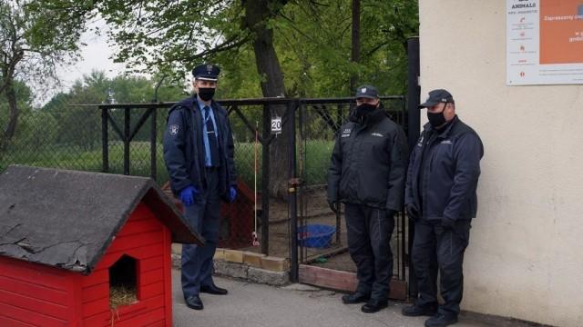 Funkcjonariusze zakładu karnego z pomocą zwierzakom