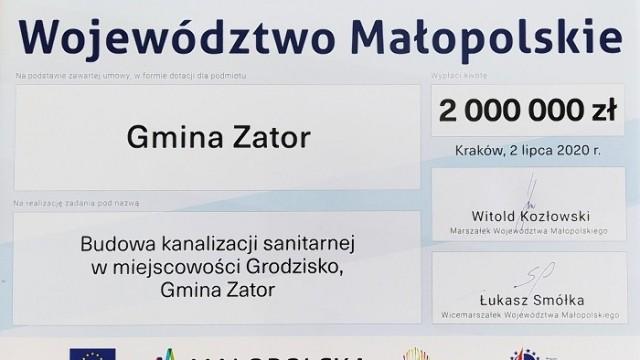 Gmina Zator pozyskała 2 miliony zł. na budowę kanalizacji Grodziska