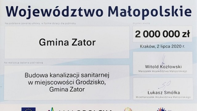 Gmina Zator pozyskała 2 miliony zł. na budowę kanalizacji Grodziska.