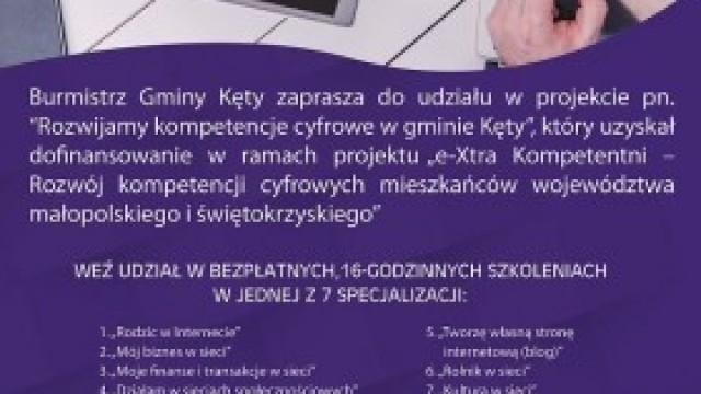 """Harmonogram szkoleń w ramach projektu """"Rozwijamy kompetencje cyfrowe w gminie Kęty"""""""