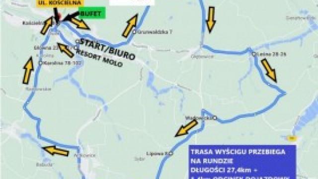 Komunikat Organizacyjny informujący o utrudnieniach w ruchu w związku z wyścigami Molo Osiek Race w kolarstwie szosowym w dniu 12 czerwca 2021