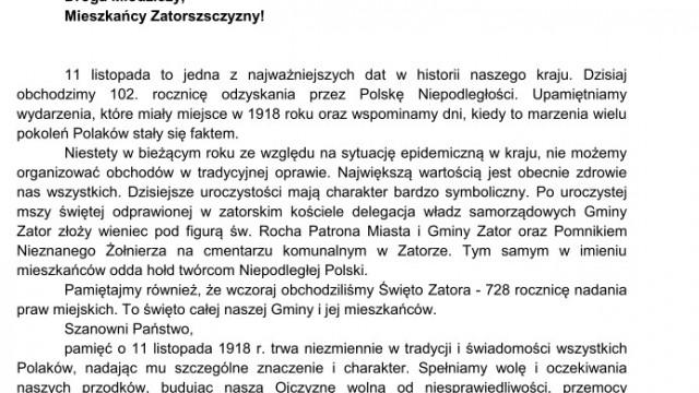 List Burmistrza Zatora Mariusza Makucha z okazji Święta Niepodległości