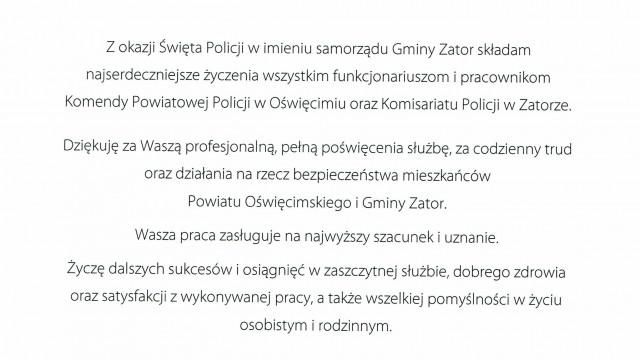 List Gratulacyjny z okazji Święta Policji