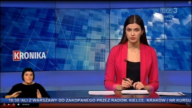 """MAŁOPOLSKA. """"Kronika"""" TVP3 Kraków dla osób niesłyszących"""