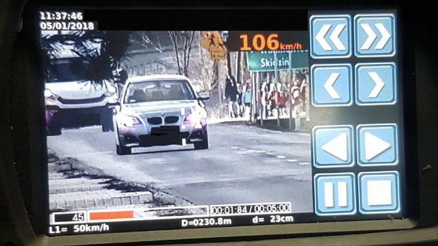 Nowy laserowy miernik prędkości wyeliminował z ruchu kolejnego kierowcę.