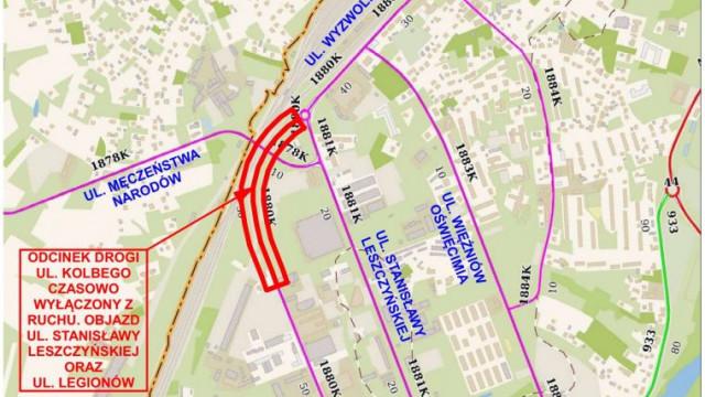 Od 8 kwietnia zamknięty dla ruchu fragment ulicy Kolbego. Trwa przebudowa drogi powiatowej