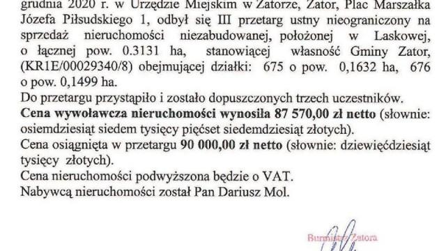 OGŁOSZENIE Burmistrza Zatoraz dnia 16 grudnia 2020 r.