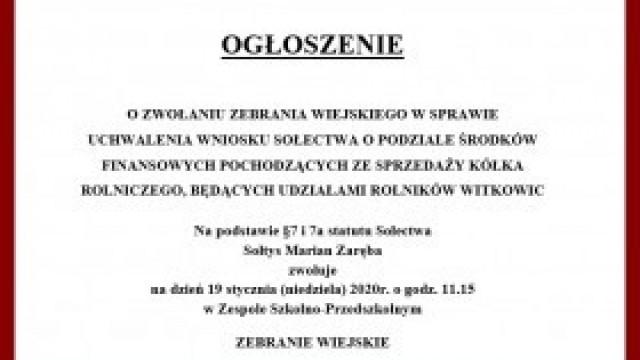 Ogłoszenie o zwołaniu Zebrania Wiejskiego w Witkowicach