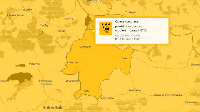 Ostrzeżenie IMGW dla naszego powiatu: Opady marznące
