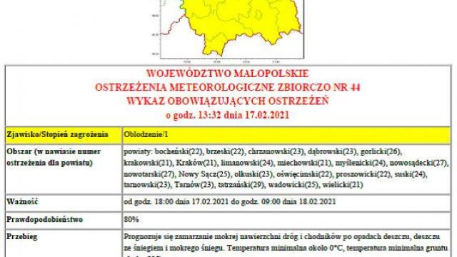 Ostrzeżenie meteorologiczne nr 44 Oblodzenie/1