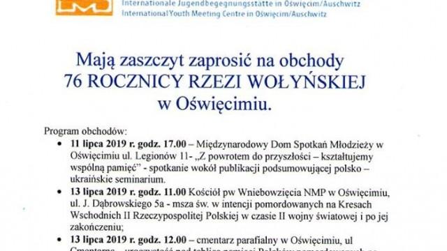 Oświęcim. 76. rocznica Rzezi Wołyńskiej