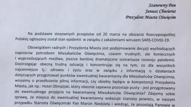 OŚWIĘCIM. Klub Radnych PiS pisze do prezydenta w spawie koronawirusa