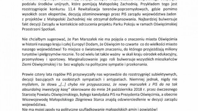 OŚWIĘCIM. List otwarty do Marszałka Województwa