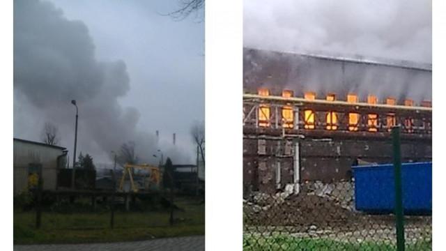 Oświęcim - ponad 25 zastępów walczy z pożarem hali wypełnionej złomem