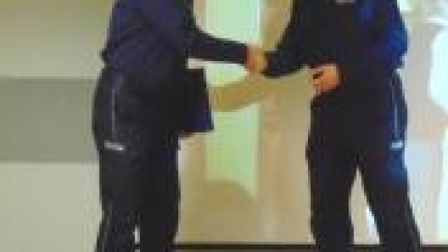Oświęcim. Pożegnanie podinspektora Arkadiusza Śniadka i powitanie podinspektor Urszuli Martyniuk na stanowisku I Zastępcy Komendanta Powiatowego Policji w Oświęcimiu
