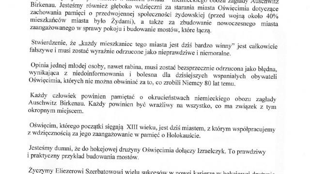 OŚWIĘCIM. Stanowisko Naczelnego Rabina Polski Michaela Schudricha