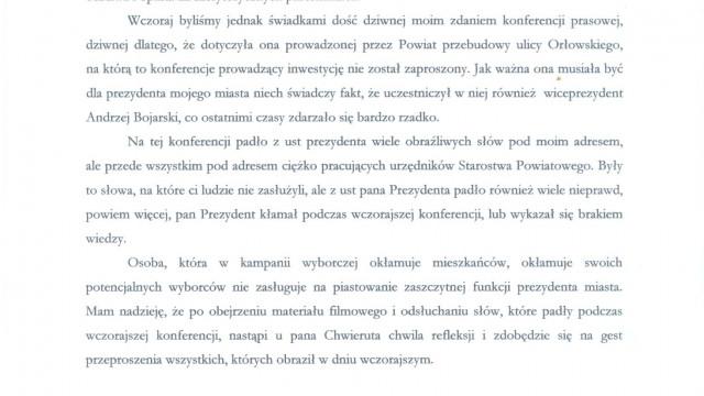 OŚWIĘCIM. Starosta Zbigniew Starzec odpowiada ws. ul. Orłowskiego