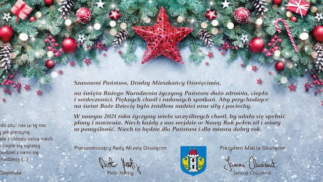 Oświęcim. Życzenia świąteczne dla mieszkańców