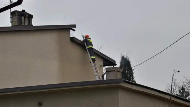 Pięć zastępów straży pożarnej gasiło pożar na poddaszu budynku. ZDJĘCIA!