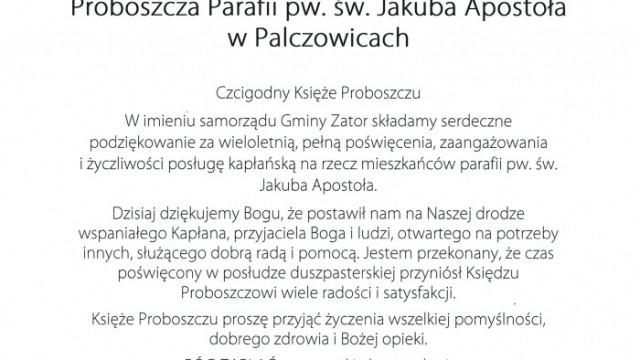 Podziękowanie dla Księdza Antoniego Kuśnierza Proboszcza Parafii pw. św. Jakuba Apostoła w Palczowicach