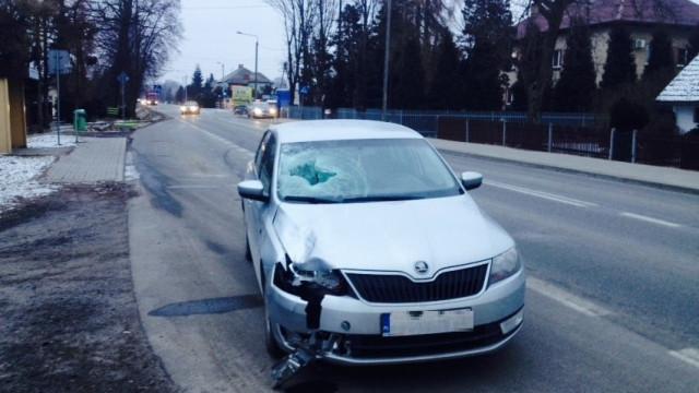 Potrącenie pieszej na DW948 w Grojcu. FOTO!