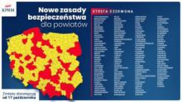 Powiat oświęcimski. Strefa czerwona od 17.10.2020. Przypominamy o wprowadzonych obostrzeniach.