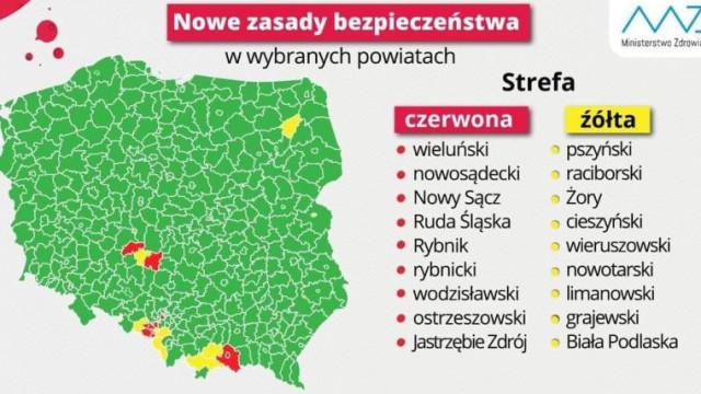 """Powiat oświęcimski wypadł z żółtej strefy i się """"zazielenił"""". Zmiany od jutra"""