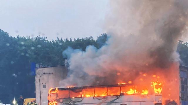 Pożar autokaru w Oświęcimiu – ZDJĘCIA, FILM!