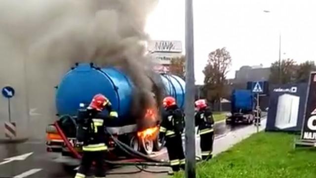 Pożar cysterny na DK44 w Oświęcimiu. FILM !