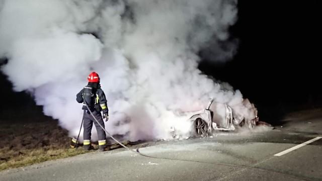 Pożar samochodu w Chełmku. ZDJĘCIA!
