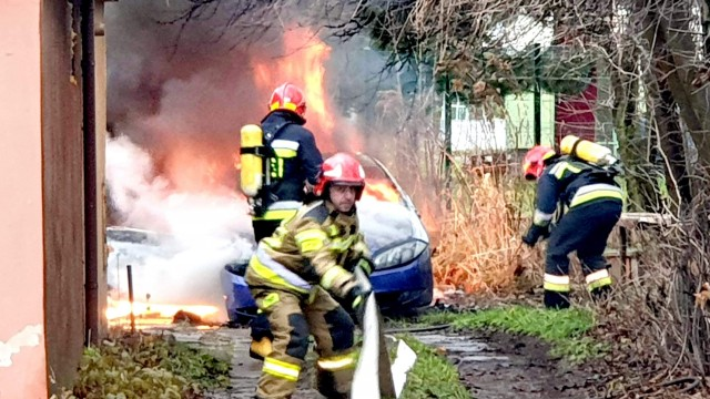 Pożar samochodu w Oświęcimiu – ZDJĘCIA!