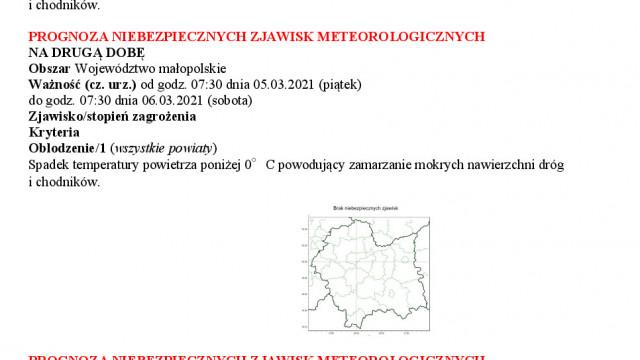 Prognoza niebezpiecznych zjawisk meteorologicznych oblodzenie1