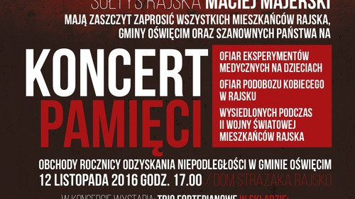 RAJSKO. Koncert Pamięci ku czci ofiar i prześladowanych przez hitlerowski reżim