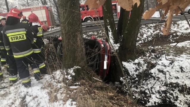Renault wpadł do rowu między drzewa – FILM