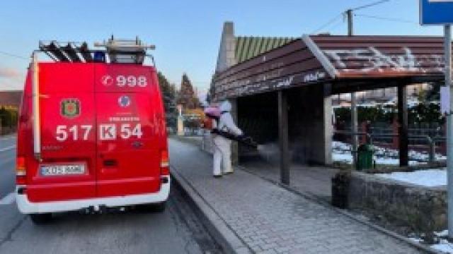 Strażacy dezynfekowali miejsca publiczne