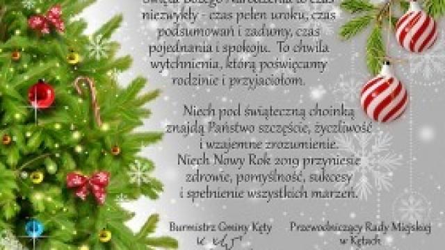 Świąteczne życzenia od Burmistrza Gminy Kęty i Przewodniczącego Rady Miejskiej w Kętach