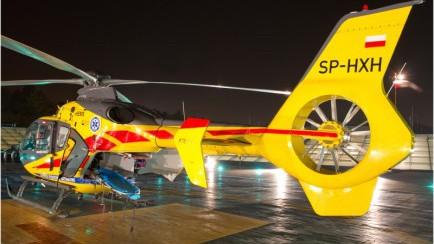 TRENING. Nocny lot. Eurocopter z Kielc nad Oświęcimiem