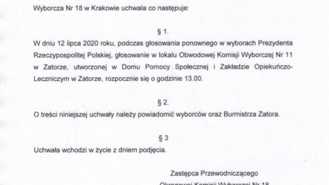 UCHWAŁAOkręgowej Komisji Wyborczej nr 18w Krakowiez dnia 11 lipca 2020 rokuw sprawie godziny rozpoczęcia głosowania