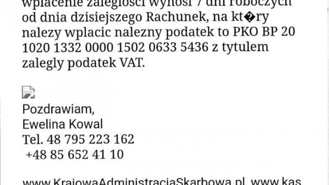 Urząd Skarbowy ostrzega: Uwaga na fałszywe maile z wezwaniem do zapłaty - InfoBrzeszcze.pl