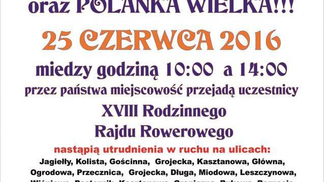 Utrudnienia w ruchu w sobotę od 10 do 14. Uczestnicy Rodzinnego Rajdu Rowerowego pojadą do Polanki Wielkiej