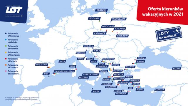 Wakacyjne kierunki LOT-u bezpośrednio z Krakowa już od 18 czerwca