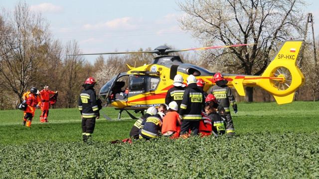 Wypadek motocyklisty. Na miejscu lądował śmigłowiec LPR. ZDJĘCIA!