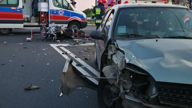 Wypadek w Chełmku. Ranny motocyklista – ZDJĘCIA!